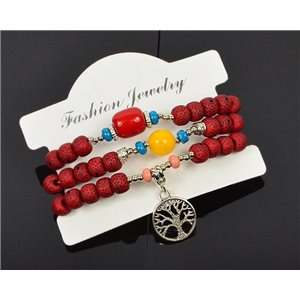 Bracelet CYBELE Cuff 3 Ranks Collection Bead Charms and Jewelry on Elastic Wire New Collection 75986