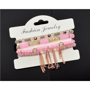 Bracelet CYBELE Manchette 4 rangs Collection Bead Charms et Bijoux sur fil élastic New Collection 76000