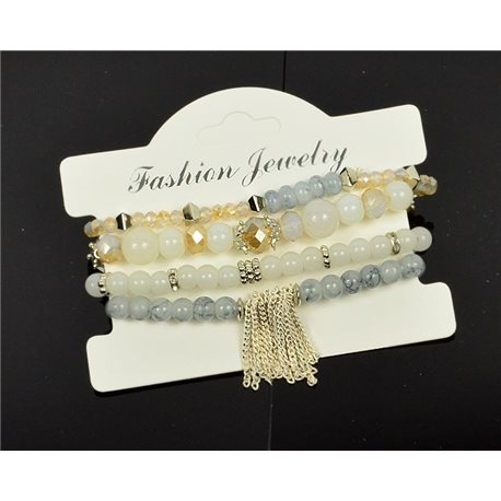 Bracelet CYBELE Cuff 4 rows Collection Bead Charms and Jewelry on elastic thread New Collection 76001