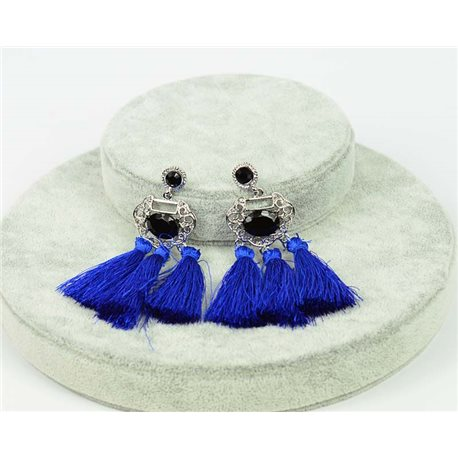 1p earrings with nail New Trends Pompoms on metal Silver 76062