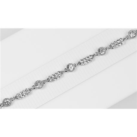 Silver Color metal bracelet set with Rhinestones L19 cm The Best Collection Chic 76015