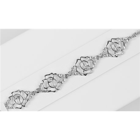 Silver Color metal bracelet set with Rhinestones L19 cm The Best Collection Chic 76019