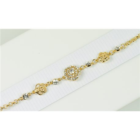 Gold Color metal bracelet set with Rhinestones L19 cm The Best Collection Chic 76022