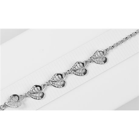 Silver Color metal bracelet set with Rhinestones L19 cm The Best Collection Chic 76023