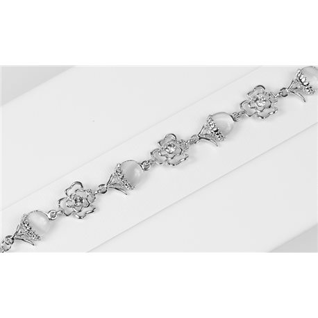 Silver Color metal bracelet set with Rhinestones L19 cm The Best Collection Chic 76025