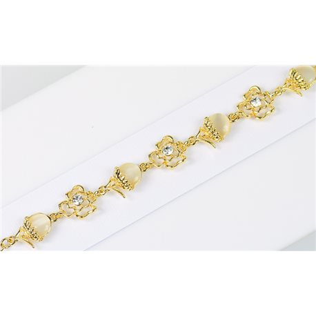 Gold Color metal bracelet set with Rhinestones L19 cm The Best Collection Chic 76026