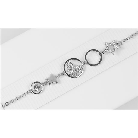 Silver Color metal bracelet set with Rhinestones L19 cm The Best Collection Chic 76031