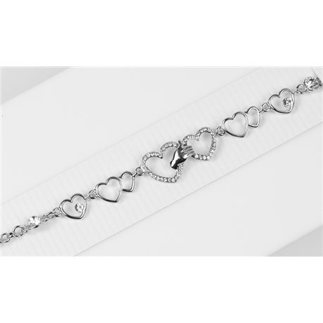 Silver Color metal bracelet set with Rhinestones L19 cm The Best Collection Chic 76037
