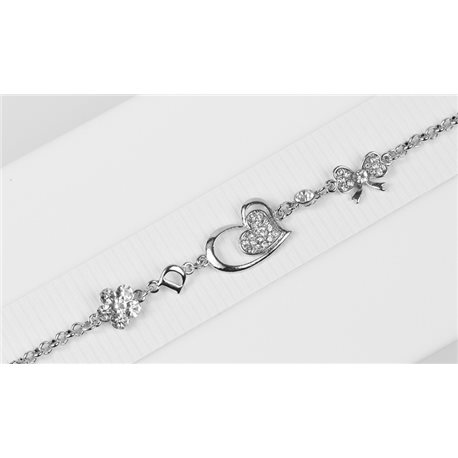 Silver Color metal bracelet set with Rhinestones L19 cm The Best Collection Chic 76039