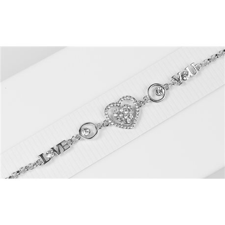 Silver Color metal bracelet set with Rhinestones L19 cm The Best Collection Chic 76041