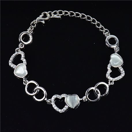Silver Color metal bracelet set with Rhinestones L19 cm The Best Collection Chic 76043