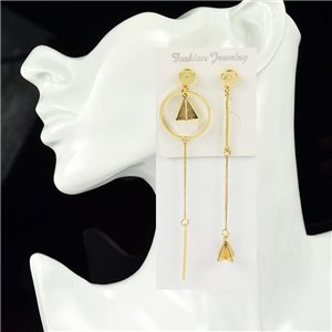 1p Earring Drop Earrings Metal Nail Color GOLD New Graphika Style 76077