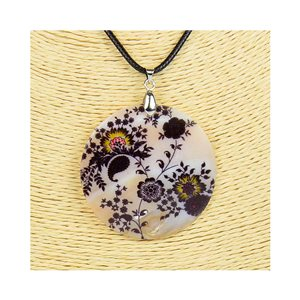 Pendant necklace 5 cm Natural Mother of Pearl Fashion Design L48cm New Collection 76196