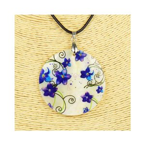 Collier Pendentif 5cm en Nacre naturelle Fashion Design L48cm New Collection 76216