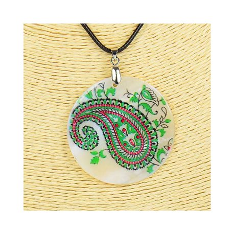 Pendant necklace 5 cm Natural Mother of Pearl Fashion Design L48cm New Collection 76224