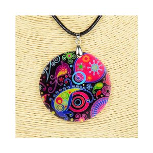 Collier Pendentif 5cm en Nacre naturelle Fashion Design L48cm New Collection 76232