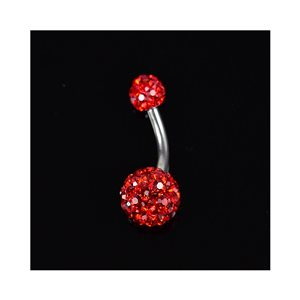 Piercing Banana nombril Acier 316L L10mm D1.6 New Collection Strass Rouge 68874