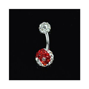 Piercing Banana nombril Acier 316L L10mm D1.6 New Collection Strass YING-YANG Rouge 68878
