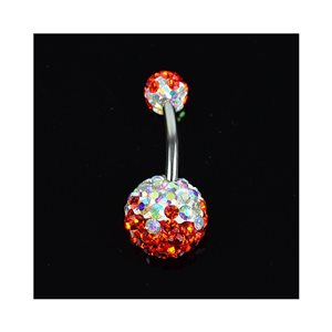 Piercing Banana navel Steel 316L L10mm D1.6 New Collection Rhinestones TriColor Red 68882