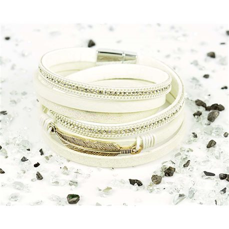 Cuff Bracelet Fashion Chic Leather Look and Rhinestone L38cm Magnetic clasp New Collection 76264
