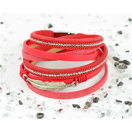 Cuff Bracelet Fashion Chic Leather Look and Rhinestone L38cm Magnetic clasp New Collection 76266