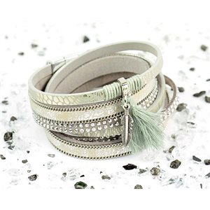 Bracelet manchette Mode Chic aspect Cuir et Strass L38cm fermoir Aimanté New Collection 76271