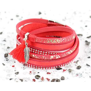 Cuff Bracelet Fashion Chic Leather Look and Rhinestone L38cm Magnetic clasp New Collection 76272