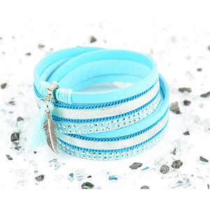 Cuff Bracelet Fashion Chic Leather Look and Rhinestone L38cm Magnetic Clasp New Collection 76273