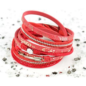 Bracelet manchette Mode Chic aspect Cuir et Strass L38cm fermoir Aimanté New Collection 76278
