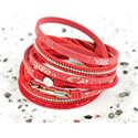 Cuff Bracelet Fashion Chic Leather Look and Rhinestone L38cm Magnetic clasp New Collection 76278