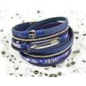 Cuff Bracelet Fashion Chic Leather Look and Rhinestone L38cm Magnetic clasp New Collection 76280