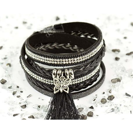 Cuff Bracelet Fashion Chic Leather Look and Rhinestone L38cm Magnetic clasp New Collection 76281