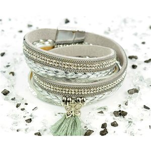 Cuff Bracelet Fashion Chic Leather Look and Rhinestone L38cm Magnetic clasp New Collection 76282