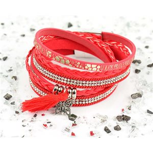 Cuff Bracelet Fashion Chic Leather Look and Rhinestone L38cm Magnet Clasp New Collection 76284
