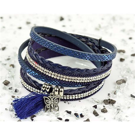 Cuff Bracelet Fashion Chic Leather Look and Rhinestone L38cm Magnetic clasp New Collection 76286