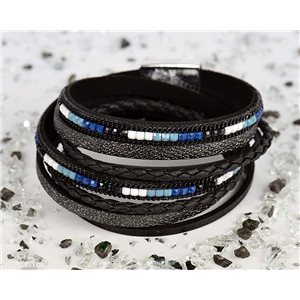 Cuff Bracelet Fashion Chic Leather Look and Rhinestone L38cm Magnetic clasp New Collection 76293