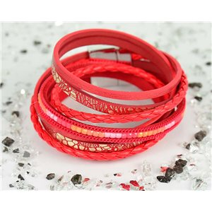 Cuff Bracelet Fashion Chic Leather Look and Rhinestone L38cm Magnetic clasp New Collection 76296