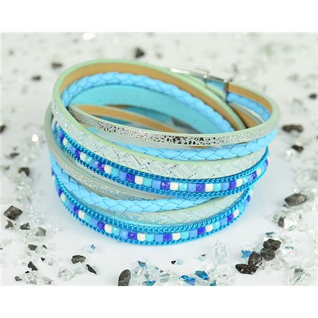 Cuff Bracelet Fashion Chic Leather Look and Rhinestone L38cm Magnetic clasp New Collection 76297