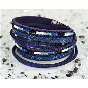 Cuff Bracelet Fashion Chic Leather Look and Rhinestone L38cm Magnetic Clasp New Collection 76298