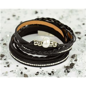 Cuff Bracelet Fashion Chic Leather Look and Rhinestone L38cm Magnetic Clasp New Collection 76299