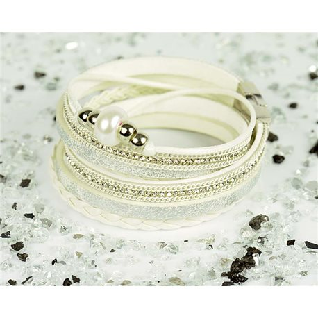 Cuff Bracelet Fashion Chic Leather Look and Rhinestone L38cm Magnetic clasp New Collection 76300