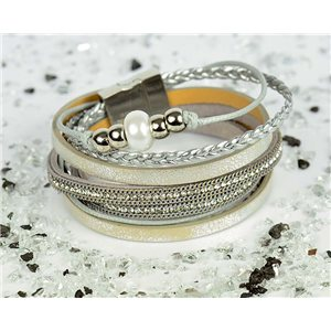 Bracelet manchette Mode Chic aspect Cuir et Strass L38cm fermoir Aimanté New Collection 76301