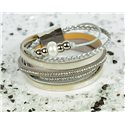 Cuff Bracelet Fashion Chic Leather Look and Rhinestone L38cm Magnetic Clasp New Collection 76301