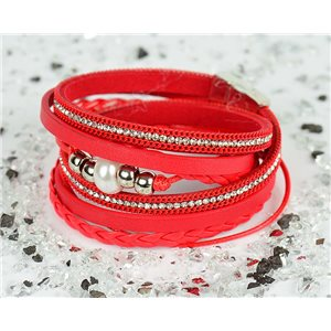 Cuff Bracelet Fashion Chic Leather Look and Rhinestone L38cm Magnetic clasp New Collection 76302