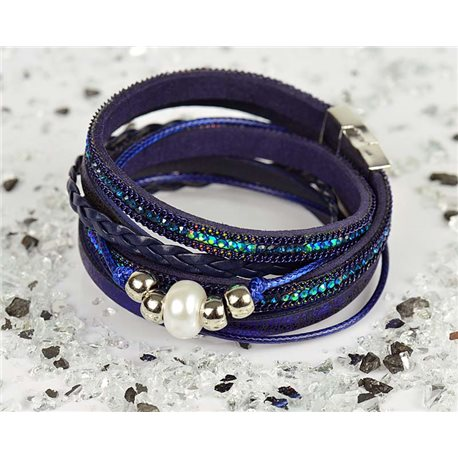Cuff Bracelet Fashion Chic Leather Look and Rhinestone L38cm Magnetic clasp New Collection 76304