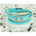 Cuff Bracelet Fashion Chic Leather Look and Rhinestone L38cm Magnetic clasp New Collection 76309