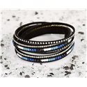 Cuff Bracelet Fashion Chic Leather Look and Rhinestone L38cm Magnetic Clasp New Collection 76311