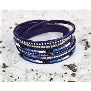 Cuff Bracelet Fashion Chic Leather Look and Rhinestone L38cm Magnetic Clasp New Collection 76334