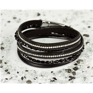 Cuff Bracelet Fashion Chic Leather Look and Rhinestone L38cm Magnetic Clasp New Collection 76316