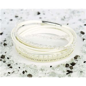 Cuff Bracelet Fashion Chic Leather Look and Rhinestone L38cm Magnetic Clasp New Collection 76317